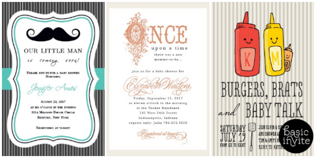 Basic Invite offers a large variety of baby shower invitations in addition to wedding, birthday and holiday invitations.