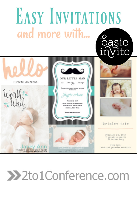 Baby shower invitations, birth announcements and more from Basic Invite.