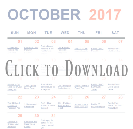 Downlaod your October Activity Calendar today! Full of great activities for the family.