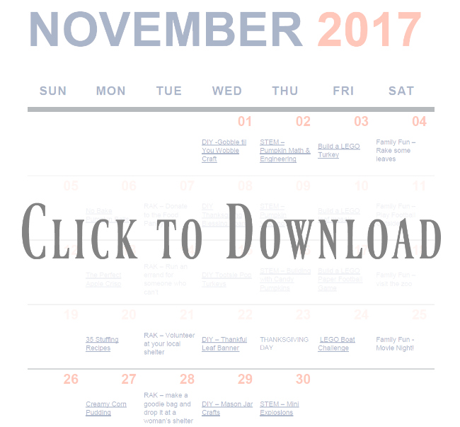 Free November Activity Calendar for famillies at 2:1!