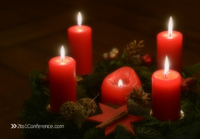 Advent wreath for Lovely Christmas 2to1Conference blog